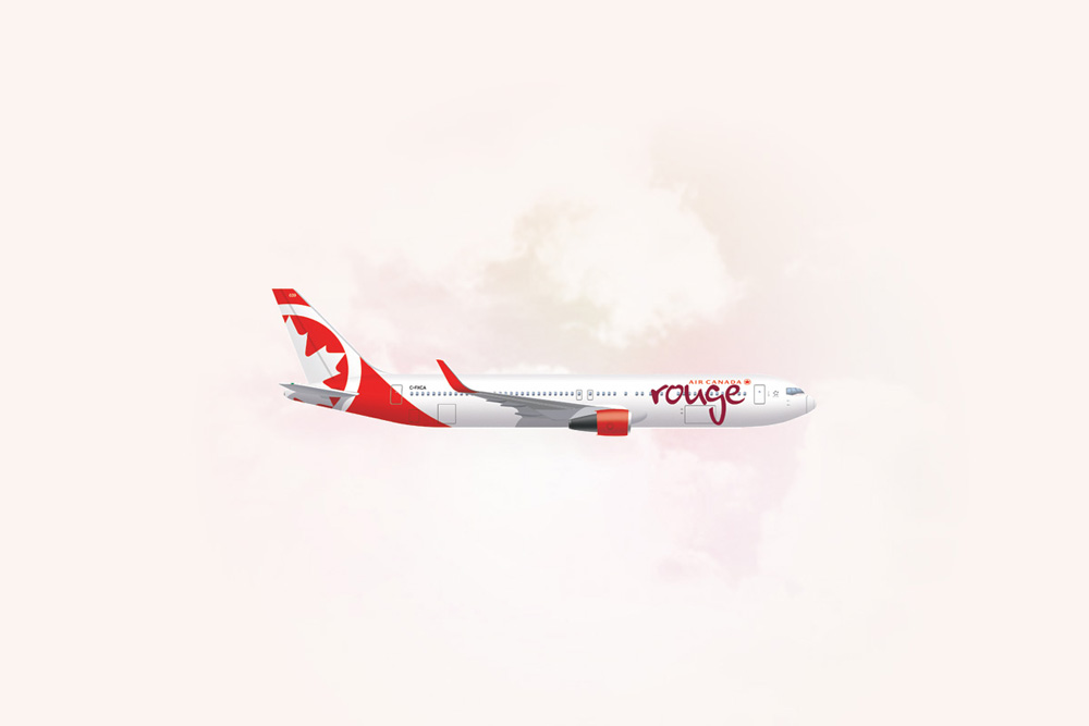 An image of an Air Canada Rouge Boeing 767-300ER.