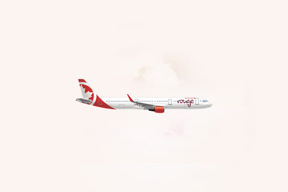 An image of an Air Canada Rouge Airbus 321.
