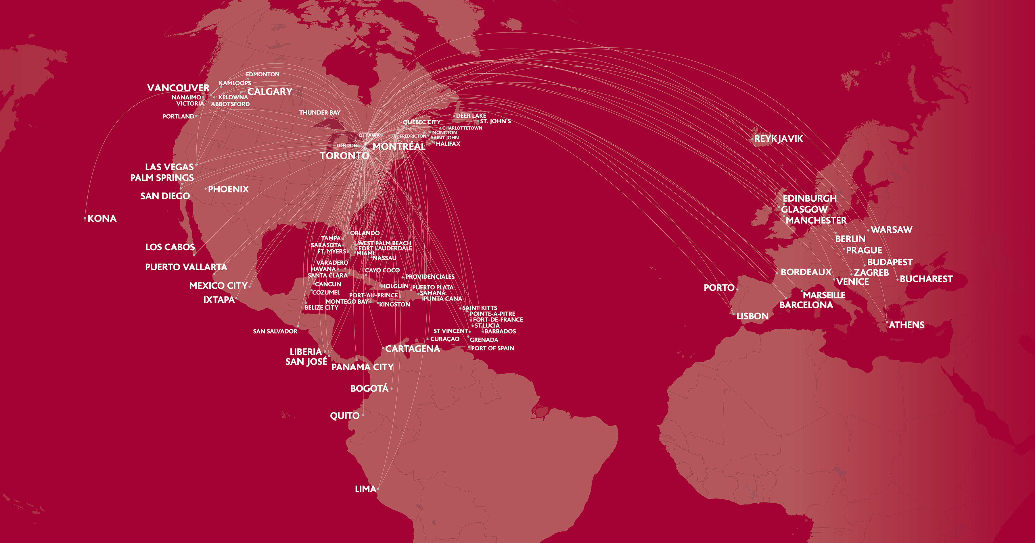 Air Canada Rouge map